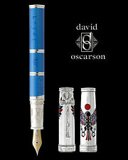 David Oscarson Rosetta Stone Blue & Silver LE Fountain Pen - Brand New!!