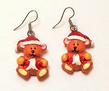 Christmas Holiday Sparkly SANTA TEDDY BEAR Drop Pierced Earrings Plastic
