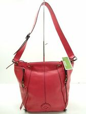 NWT ORYANY Shoulder Bag Italian Leather Rosa 2 Front Zip Pockets On Each Side