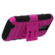 for Samsung Galaxy S2 T989 (T-Mobile) Hot Pink Kickstand Hard & Soft Hybrid Case