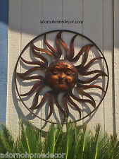 Large Round Metal Sun Wall Decor Rustic Garden Art Indoor Outdoor Patio Backyard