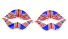 Cool enamel lips stud earrings with Union Jack pattern