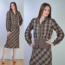 VTG 70s MISSONI Plaid MOHAIR Wool Sweater COAT + SKIRT Dress Jacket SUIT S-M