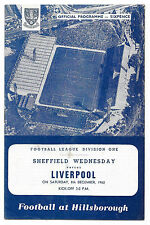 Sheffield Wednesday v Liverpool, 1962/63 - Division One Match Programme.