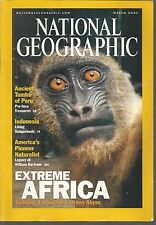 National Geographic March 2001 Extreme Africa/Peru Tomb/Indonesia/Naturalist