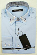 """PALE BLUE LONG SLEEVE SHIRT WITH FLORAL TRIM BUTTON DOWN COLLAR, 15""""/SML, MT011"""