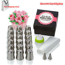 Piping Nozzle Tips Cake Cupcake Decoration Frosting Kit Set Stainless Steel 31pc
