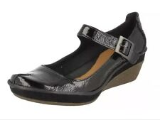 New �� Clarks ��Size 6.5 Forest Glade Black Patent Leather Wedge Shoes (40 EU)