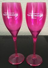 TAITTINGER CHAMPAGNE FLUTES X 2  DAYGLO PINK POLYCARB POOLSIDE HOT TUB  X 2
