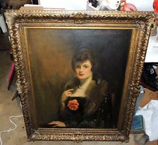 Antique Albert Delmont Smith American Oil on Canvas Portrait of a Woman - Signed