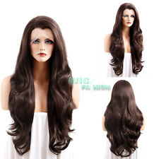 "26"" Long Curly Light Brown Lace Front Synthetic Wig Heat Resistant"