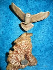 BEAUTIFUL FLYING OWL SCULPTURE - JOHN PERRY Signed ART STATUE - AIRBRUSHED