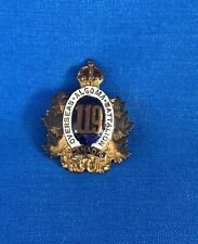 "Canada  WW1  "" OVERSEAS ALGOMA BATTALION "" 119  Pin Badge Military Antique"