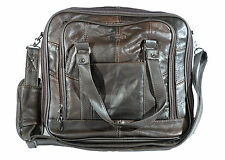 Lorenz Unisex Brown Leather Office Work Travel Overnight Shoulder Bag [3799]
