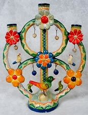 "Vtge Mexico Mexican Pottery Tree of Life Candelabra Candle Holder Birds 15"" Tall"