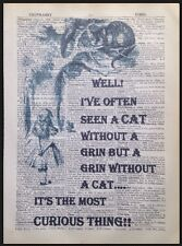 Vintage Alice in Wonderland Cheshire Cat Dictionary Page Wall Art Picture Print