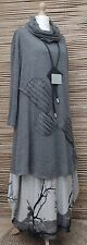 LAGENLOOK*MB GERMANY*WOOL MIX BEAUTIFUL A-LINE LONG TUNIC/JUMPER+SNOOD*GREY*L-XL