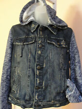 Free People Women's Denim and Knit hooded jacket in indigo, large