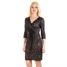 ADRIANNA PAPELL FAUX WRAP BLACK LACE 3/4 SLEEVE SHEATH DRESS sz 6