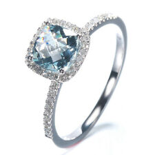 10K White Gold Natural Diamond Engagement Ring Lattice Plane Aquamarine Sea Blue