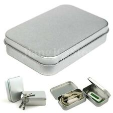 Small Metal Tin Silver Flip Storage Box Case Organizer For Money Coin Candy Keys
