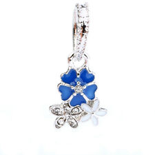 925 Silver Blue CZ Multilayer flower Pendant Charm Bead Fit Sterling Bracelet