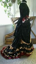 Victorian No Bustle Gown Dress Goth Gothic Steampunk 30 waist, 38 bust