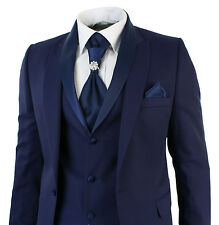 Mens Slim Fit 3 Piece Wedding Prom Party Blue 1 Button suit