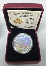 2014 $20 Fine Silver Interconnections Land The Beaver Hologram Canada Mint