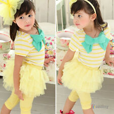 Baby Toddler Girl Short Sleeve Tops Pants Summer Tutu Dress Outfits Set Clothes