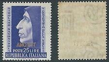 1952 TRIESTE A SAVONAROLA FILIGRANA LETTERA MH * - P25-5