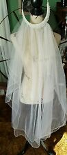 "NEW ♡ #5 WHITE ♡ TWO TIER WEDDING  VEIL ♡ BEADED HEAD PIECE ♡ 40"" LONG"