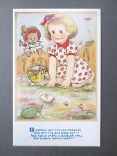 Vintage Postcard PHYLLIS M PURSER Little Girl Seaside Teddy Boat Spade Crab OLD