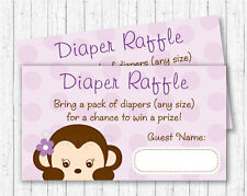 Purple Monkey Printable Baby Shower Diaper Raffle Tickets