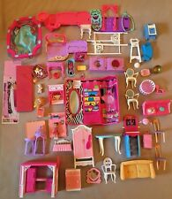 Lg Lot of Barbie Furniture & Accessories: Pets, Grooming Table, Sofas, Pool, Etc