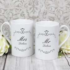 Personalised Mr and Mrs Mug Gift Set Wedding Gift Anniversary Present Couple