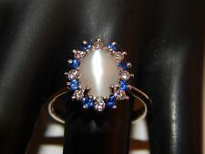 3.32 tcw Moonstone with Sapphire Diamond Halo Ring 14k WG E/VS Engagement