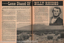 Lone Stand Of Billy Rhodes - Arizona History +Genealogy