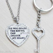 Couple Heart Necklace & Key Ring Beautiful Stunning Romatic Gift Present 4 Him