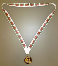 WALES OLYMPIC MEDAL -Gold Olympic Style Medal with Welsh Flag Lanyard (MI3)