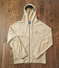 Polo Hoodie Ralph Lauren Large Sweatshirt Tan Blue Pony VG Condition