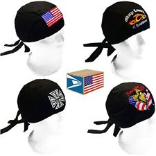 12 LOT EMBROIDERED 3D SKULL CAP HAT Assorted Designs BIKER DU DO DOO RAG NEW!