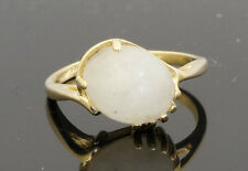 14Carat Yellow Gold Cabachon Moonstone Solitaire Ring 10x8mm (Size L)