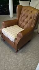 Next Sherlock Heritage Chair in Brown Leather and Washed Stripe Fabric RRP £699