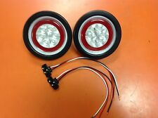 "2 RED LED 4"" Round Grommet Mount Truck Trailer Stop Tail Turn Lite W/ CLEAR LENS"