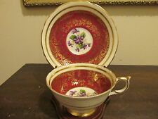 Paragon England By Appointment Tea Cup And Saucer Violets Red Gold