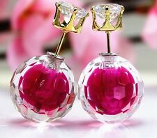 DOUBLE PINK FACETED BALL BEAD CRYSTAL STUD EAR PLUG  EARRINGS