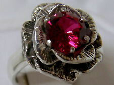 1.60ct red ruby large flower antique 925 sterling silver ring size 5 USA