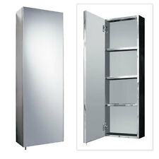 Stainless Steel 900mm x 300mm Tall Wall Mounted Bathroom Mirror Storage Cabinet