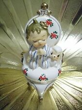 VTG Christmas Baby Shower Praying Little Boy on Chair Lamb Sheep Easter Figurine